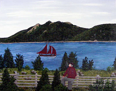 Old Man Fishing Painting - Fishing Schooner by Barbara Griffin