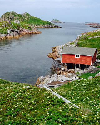 Fishing Stage Little Fogo Island Newfoundland Print by Lisa Phillips