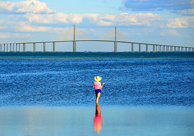 Sunshine Skyway Bridge Photograph - Fishing Tampa Bay by David Lee Thompson