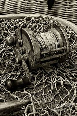 Fishing - That Old Fishing Reel In Black And White Print by Paul Ward