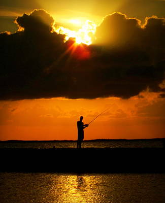 Fishing The Sun Print by Karen Wiles