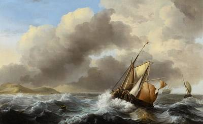Fishing Vessels Offshore In A Heavy Sea Print by Ludolf Backhuysen