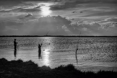 Fishing With Dad - Black And White - Merritt Island Print by Nikolyn McDonald