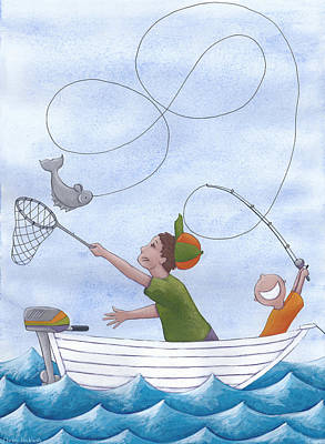 Kids Room Drawing - Fishing With Grandpa by Christy Beckwith