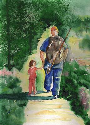 Camouflaged Painting - Fishing With My Dad by Sharon Mick