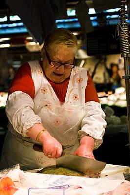 Boqueria Photograph - Fishmonger In La Boqueria Market by Ruben Vicente