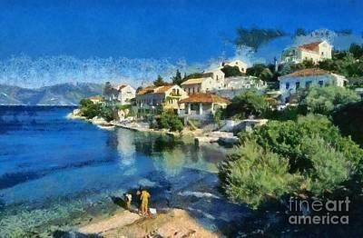 House Painting - Fiskardo Beach In Kefallonia Island by George Atsametakis