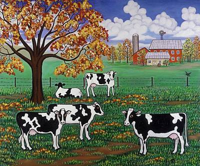 Barn Painting - Five Black And White Cows by Linda Mears