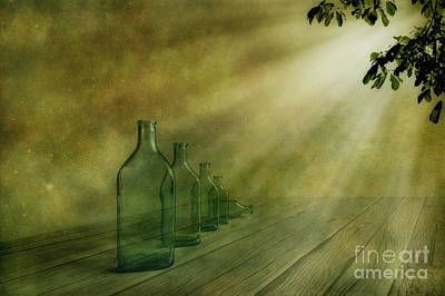 Atmospheric Digital Art - Five Bottles by Veikko Suikkanen