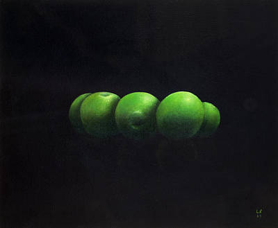 Five Green Apples Print by Lincoln Seligman