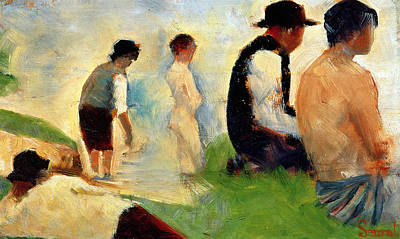 Master Painting - Five Male Figures Possible Preparatory Sketch For The ''bathers At Asnieres.'' by Georges Pierre Seurat