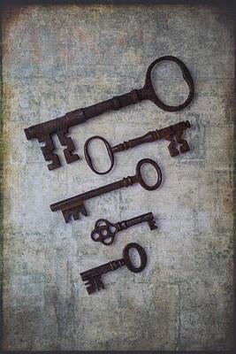 Five Rusty Keys Print by Garry Gay