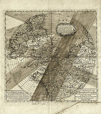 Five Solar Eclipse Paths Across Europe Print by Museum Of The History Of Science/oxford University Images