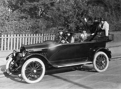 1916 Photograph - Five Women Out For A Drive by Underwood Archives