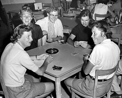 Five Women Playing Cards Print by Underwood Archives