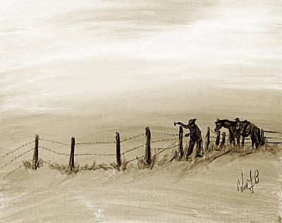 Cattle Drawing - Fix On The Prairie by William L Buckingham - Digitally Mastered by Erich Grant -