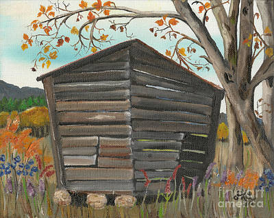 Shed Painting - Autumn - Shack - Woodshed by Jan Dappen
