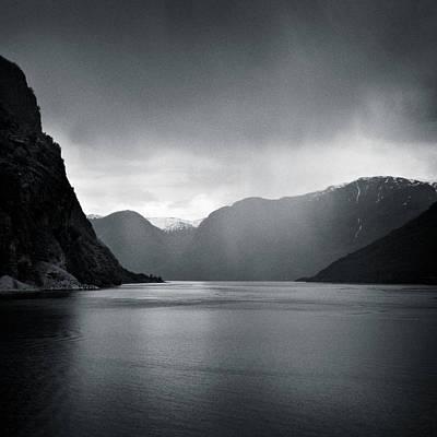 Norwegian Photograph - Fjord Rain by Dave Bowman