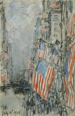 Childe Hassam Drawing - Flag Day. Fifth Avenue. July 4th 1916 by Childe Hassam