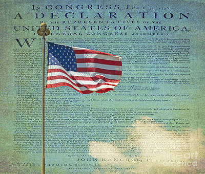 Flag - Declaration Of Independence -  Luther Fine Art Print by Luther  Fine Art