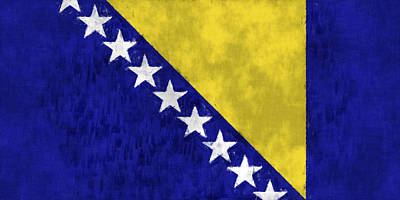 Bosnia Digital Art - Flag Of Bosnia And Herzegovina  by World Art Prints And Designs