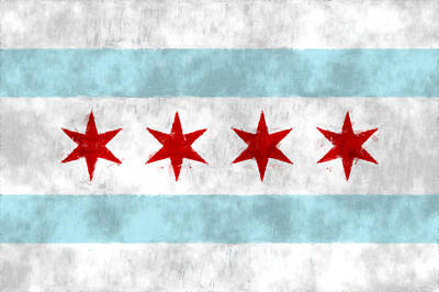 Windy Digital Art - Flag Of Chicago by World Art Prints And Designs