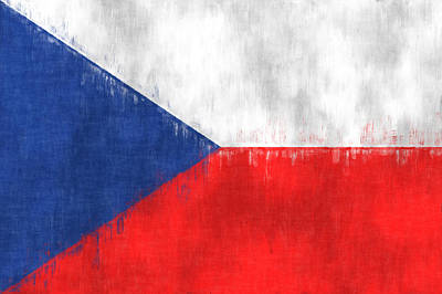 Flag Of Czech Republic Print by World Art Prints And Designs