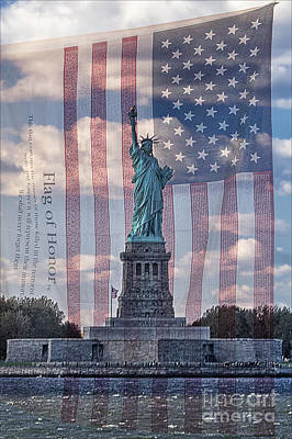 Liberty And Flag Of Honor Print by Priscilla Burgers