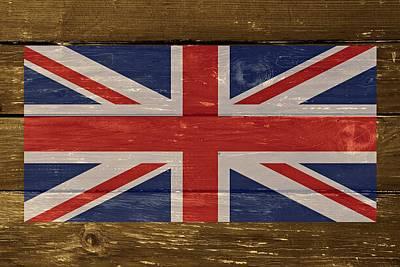 United Kingdom Flag On Wood Print by Movie Poster Prints