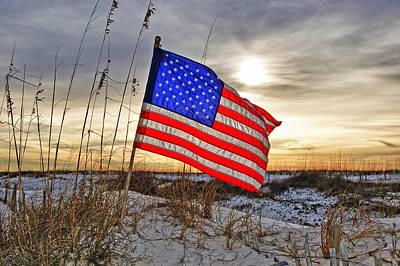 Flag On Sunrise Beach  Original by Michael Thomas