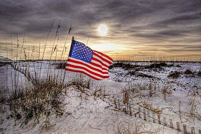 Flag On The Beach Original by Michael Thomas