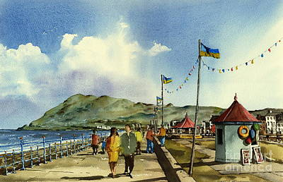 Flag Poles On Bray Prom Wicklow Print by Val Byrne