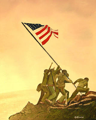 Flag Raising At Iwo Jima Print by Dean Glorso