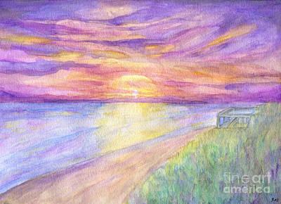 Roz Barron Abellera Painting - Flagler Beach Sunrise by Roz Abellera Art