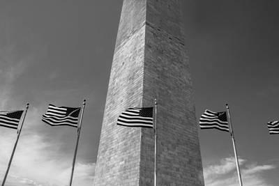 Flags At Washington Monument  Print by John McGraw
