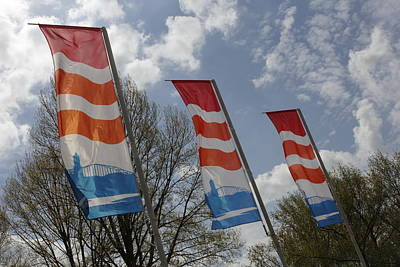 Flags Fluttering In The John Frost Bridge Print by Ronald Jansen