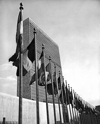 Flags Flying At United Nations Print by Underwood Archives
