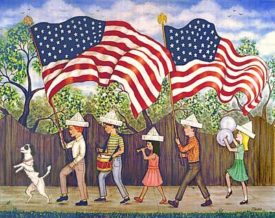 Independence Day Painting - Flags by Linda Mears