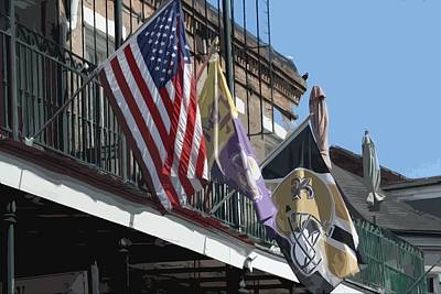 Flags On Bourbon Street Print by Donna G Smith
