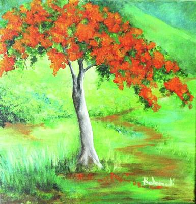 Flamboyan Tree Painting - Flamboyan by Migdalia Bahamundi