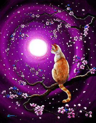 Flame Point Siamese Cat In Dancing Cherry Blossoms Print by Laura Iverson