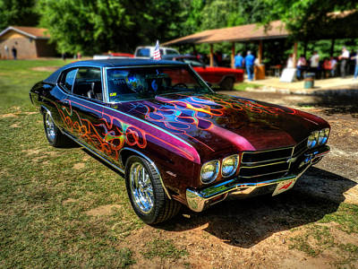 Man Cave Photograph - Flamed '70 Chevy Malibu 001 by Lance Vaughn