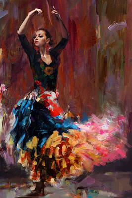 Dancer Painting - Flamenco 50 by Maryam Mughal