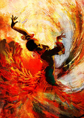 Expressionist Painting - Flamenco Dancer 021 by Mahnoor Shah