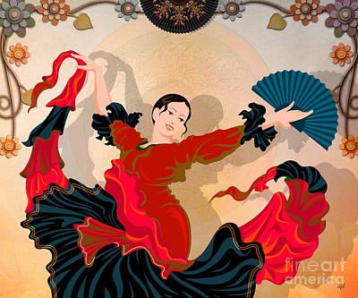 Dancer Digital Art - Flamenco Dancer by Bedros Awak