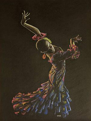 Flamenco Dancer In Flowered Dress Print by Martin Howard