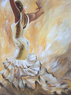In Earth Tones Painting - Flamenco Dancer In White Dress by Sheri  Chakamian