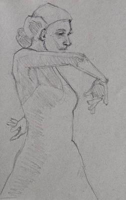 Flamenco Dancer Minimalistic Sketch 1 Print by Jani Freimann