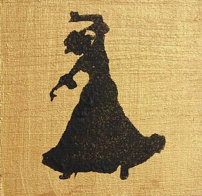Flamenco Dancer On Gold Original by Roger Cummiskey