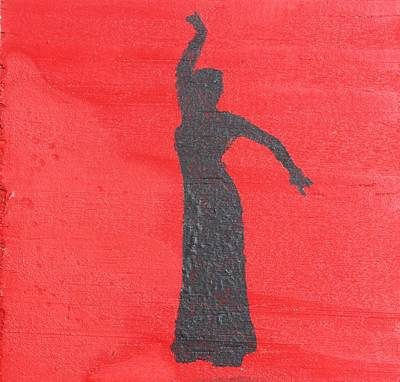 Flamenco Dancer On Red Original by Roger Cummiskey
